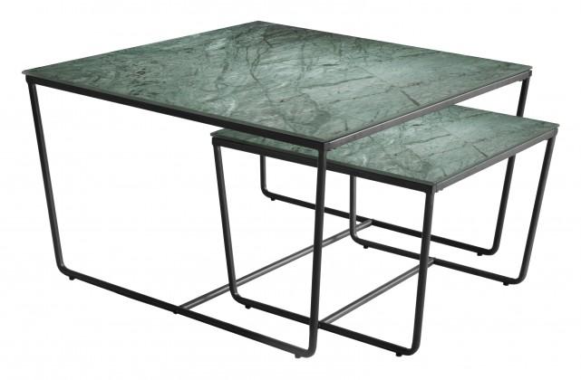 Kamenné konferenční stolky Konferenční stolek Stella - set 2 ks,stohovatelné (černá/zelená)