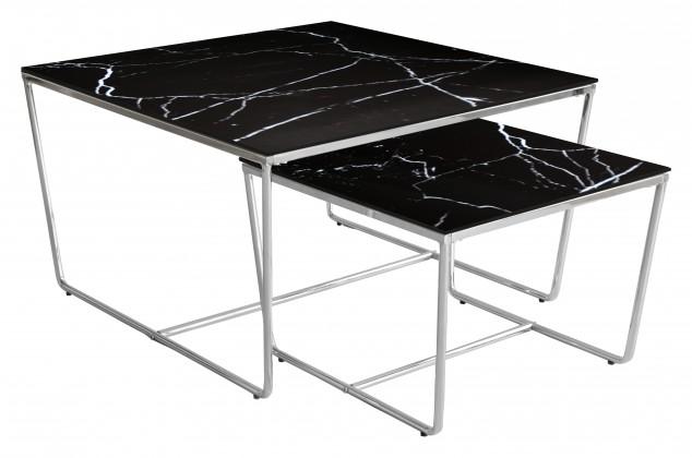 Kamenné konferenční stolky Konferenční stolek Stella - set 2 ks, stohovatelné (chrom/černá)