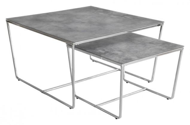 Kamenné konferenční stolky Konferenční stolek Stella - set 2 ks, stohovatelné (chrom/šedá)