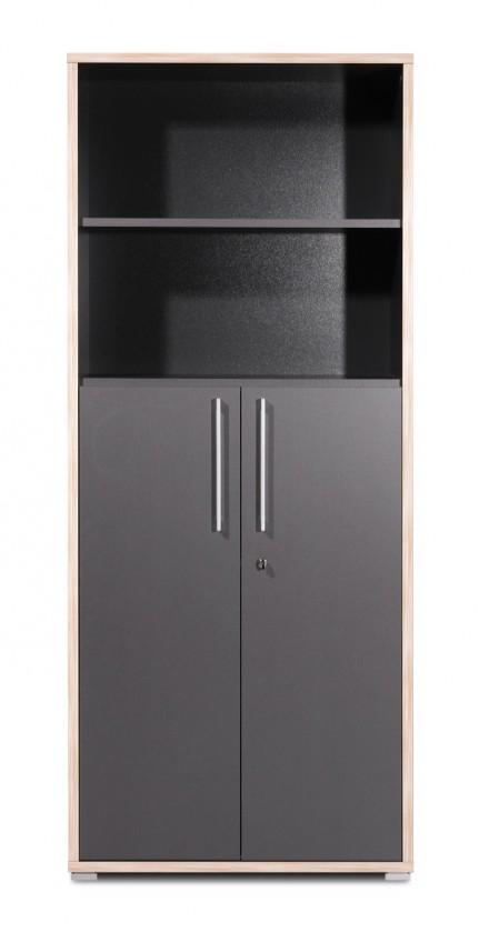 Kancelářská skříň GW-Duo - skříň s regálem (antracit)