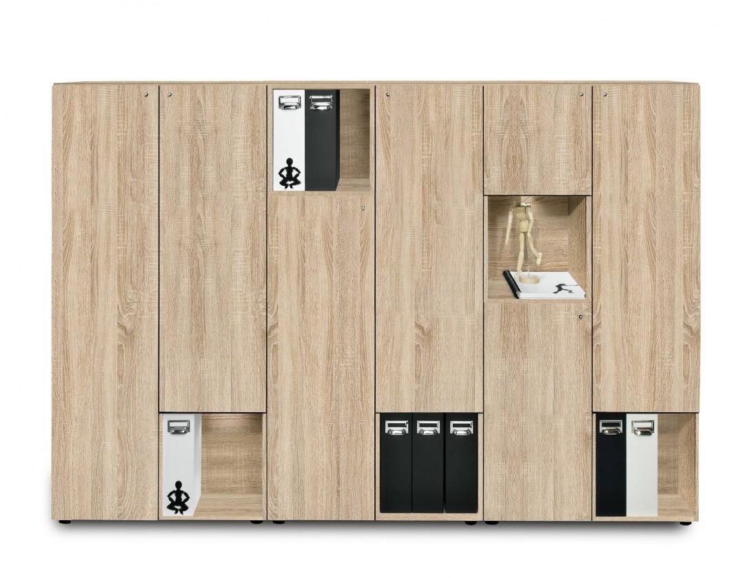 Kancelářská skříň Work - Skříň, 211,5x144x36 cm (dub)