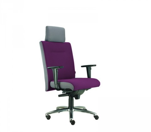 kancelářská židle Asidum s područkami a podhlavníkem, synchro P (suedine 22, sk.1)