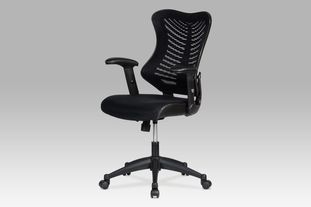 kancelářská židle Fishbone 1 - Kancelářská židle, látka mesh+koženka (černá)