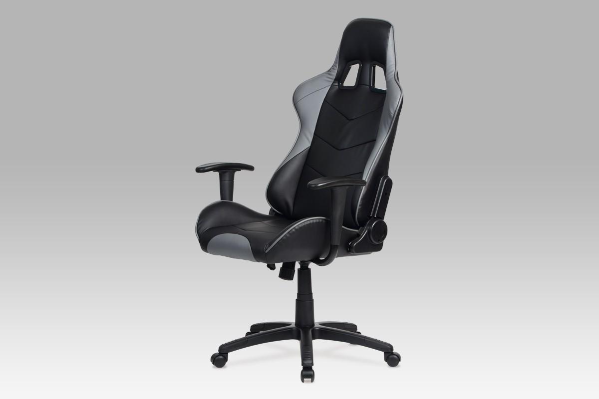 kancelářská židle Racer Grey - Kancelářská židle (černá, šedá, koženka)