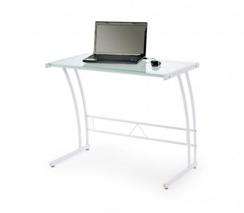 Kancelářský stůl B-22 (Bílá, průhledné sklo)