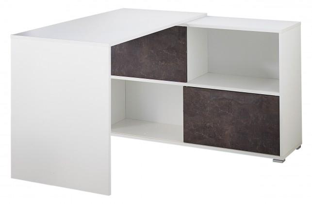 Kancelářský stůl GW-Altino - Stůl s regálem (bílá/čedičová šedá)