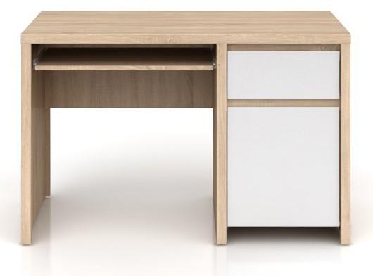 Kancelářský stůl Kaspian BIU1D1S/120 (Dub sonoma / bílá lesk)