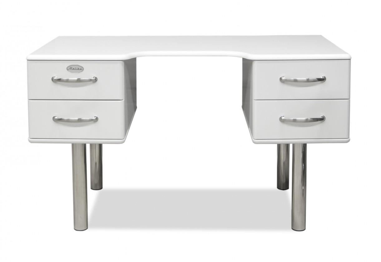 Kancelářský stůl Malibu - Psací stůl (bílá, 4x zásuvka)
