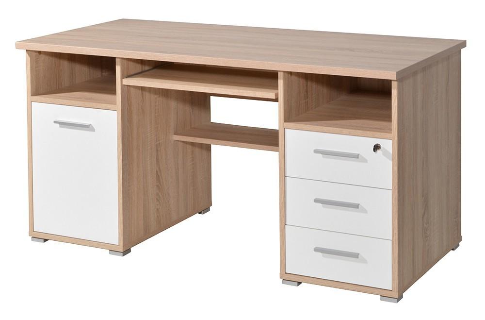 Kancelářský stůl Office - PC stůl (dub sonoma / bílá)