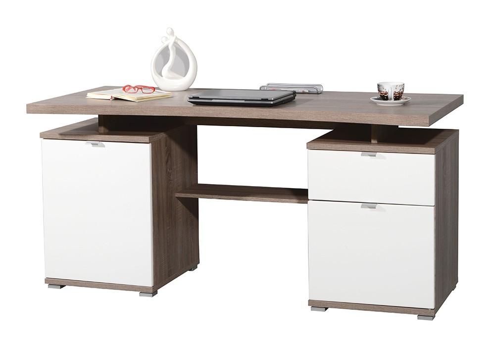 Kancelářský stůl Office - stůl (dub tmavý / bílá)