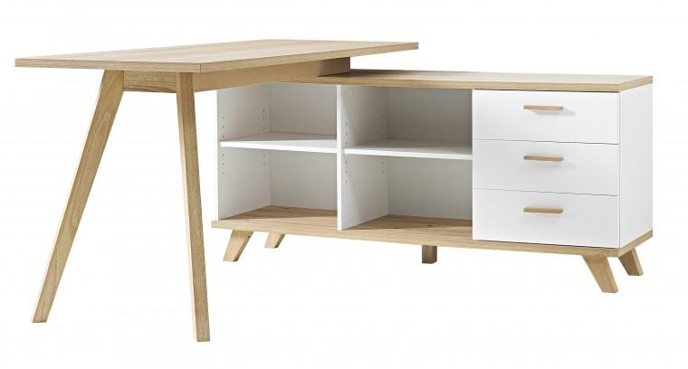Kancelářský stůl Oslo - Stůl se skříňkou (bílá/dub sanremo)