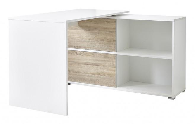 Kancelářský stůl Slide - stůl se skříňkou (bílá/dub sonoma)