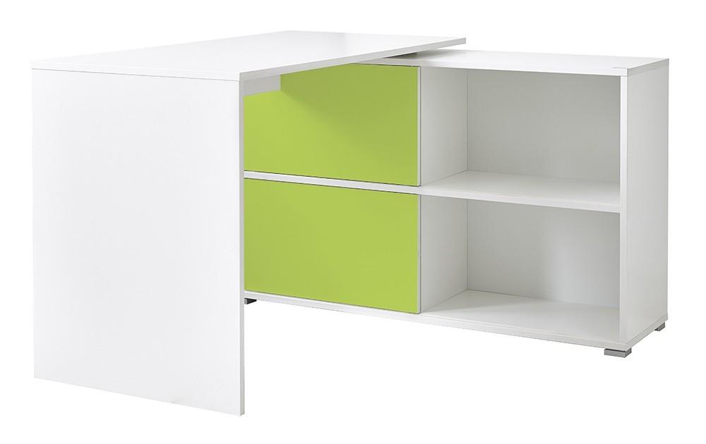 Kancelářský stůl Slide - stůl se skříňkou (bílá/zelená)