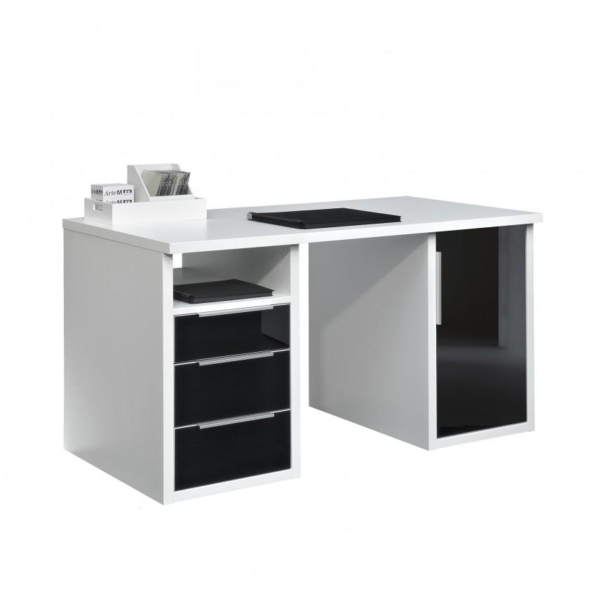 Kancelářský stůl Work - 3x zásuvka, skříňka, 1x police, 140 cm (bílá, černé sklo)