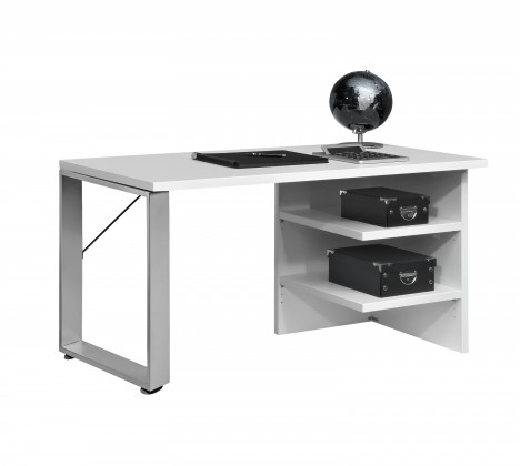 Kancelářský stůl Work - Stůl, 2x police, lamino/kov (bílá)