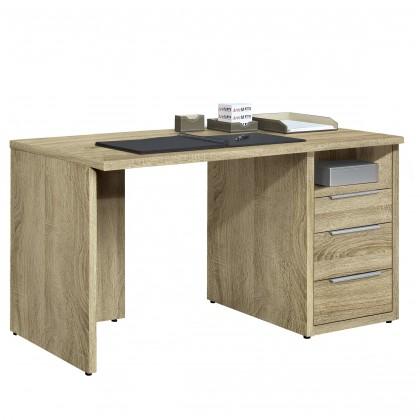 Kancelářský stůl Work - Stůl, 3x zásuvka, 120x74x70 (dub)