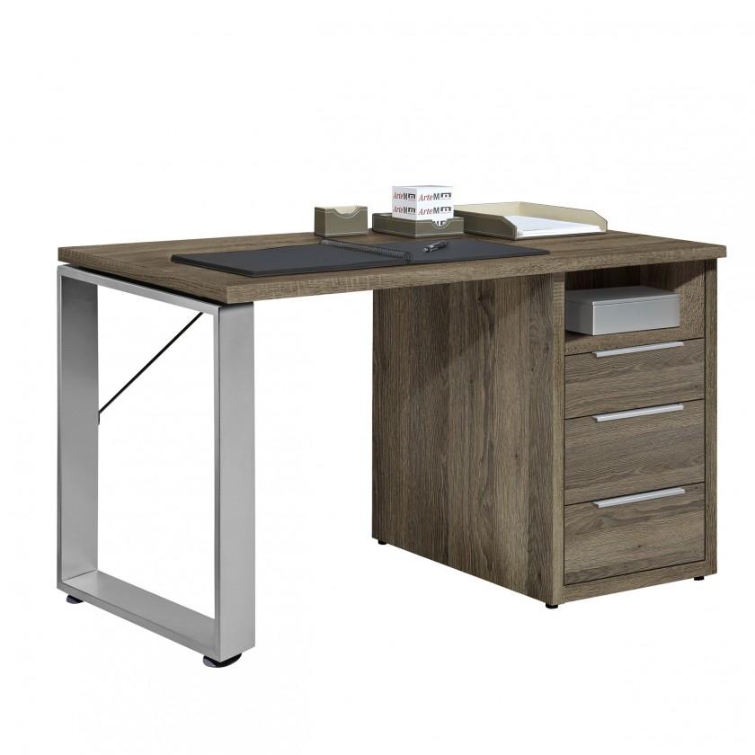 Kancelářský stůl Work - Stůl, 3x zásuvka, 140x74x70 (dub tmavý)
