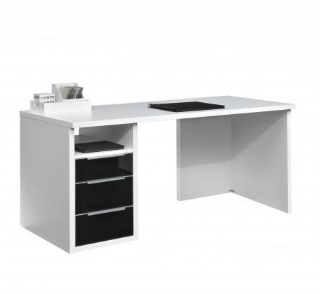 Kancelářský stůl Work - Stůl, 3x zásuvka (bílá, černé sklo)