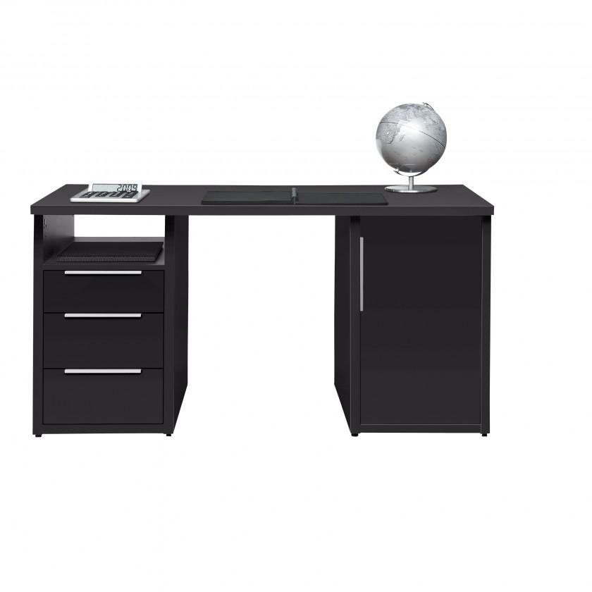 Kancelářský stůl Work - Stůl, 3x zásuvka, skříňka, 1x police (antracit)