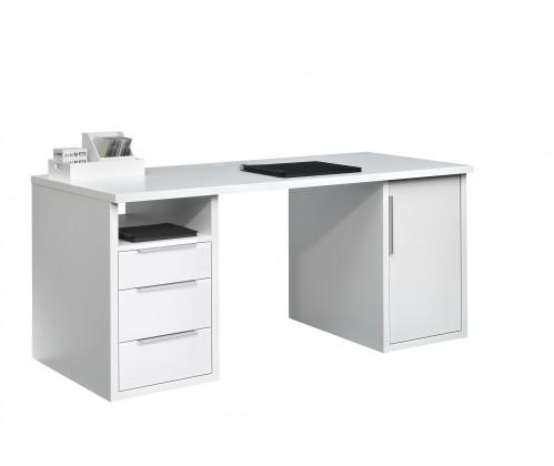 Kancelářský stůl Work - Stůl, 3x zásuvka, skříňka, 1x police (bílá)