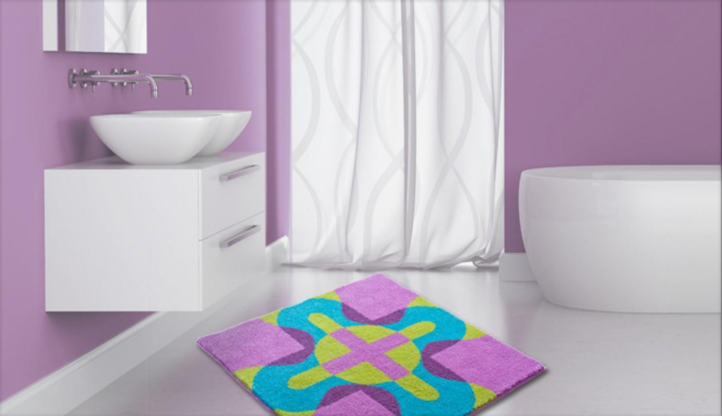 Karim 26 - Koupelnová předložka 90x90 cm (fialová)