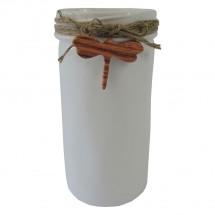 Keramická váza VK39 bílá s vážkou (21 cm)
