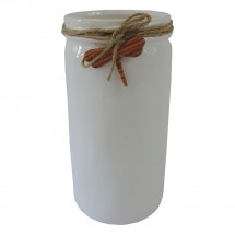 Keramická váza VK54 bílá s vážkou (26 cm)