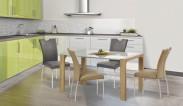 Kevin  - jídelní stůl (sklo - bílá/dub sonoma)