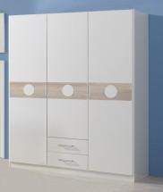 Kimba - Skříň třídveřová se zásuvkou (bílá, dub)