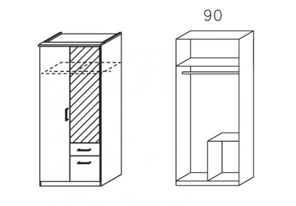 Klasická Apulien - Skříň s 2x křídlovými dveřmi