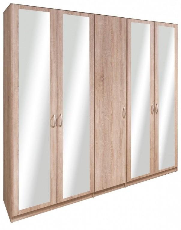 Klasická Cassanova - Šatní skříň (1x dveře, 4x dveře se zrcadlem)