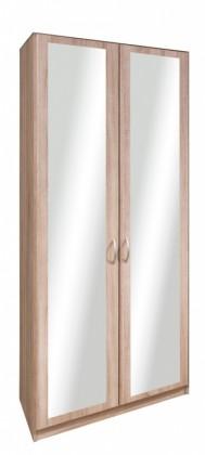 Klasická Cassanova - Šatní skříň, 2x dveře se zrcadlem (dub bardolino)