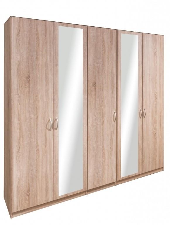 Klasická Cassanova - Šatní skříň (3x dveře, 2x dveře se zrcadlem)