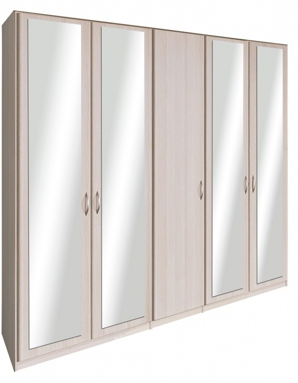 Klasická Cassanova - Šatní skříň (4x dveře se zrcadlem, jasan coimbra)