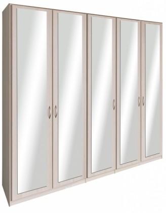 Klasická Cassanova - Šatní skříň (5x dveře se zrcadlem, jasan coimbra)