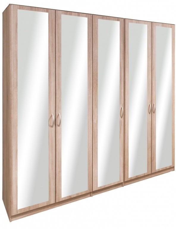 Klasická Cassanova - Šatní skříň (5x dveře se zrcadlem)