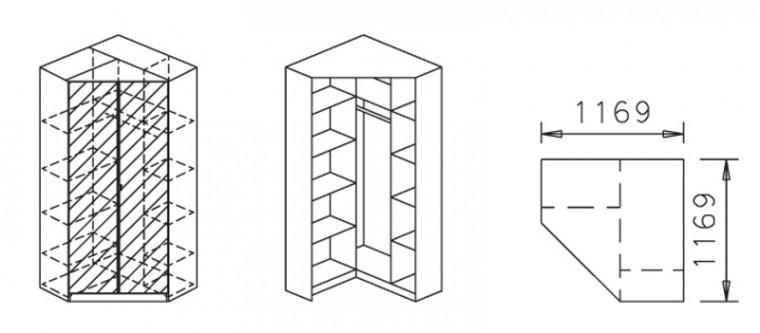 Klasická Celle, 2x dveře se zrc.