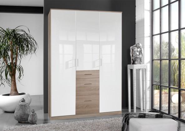 Klasická Clack - Skříň, 3x dveře (dub, bílá)