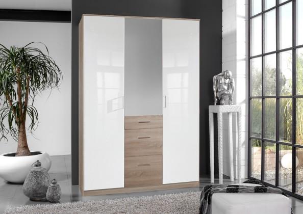 Klasická Clack - Skříň, 3x dveře, zrcadlo (dub, bílá)