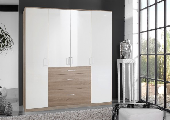 Klasická Clack - Skříň, 4x dveře (dub, bílá)