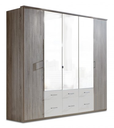 Klasická Corfu - Šatní skříň, 5x dveře (dub montana, alpská bílá)