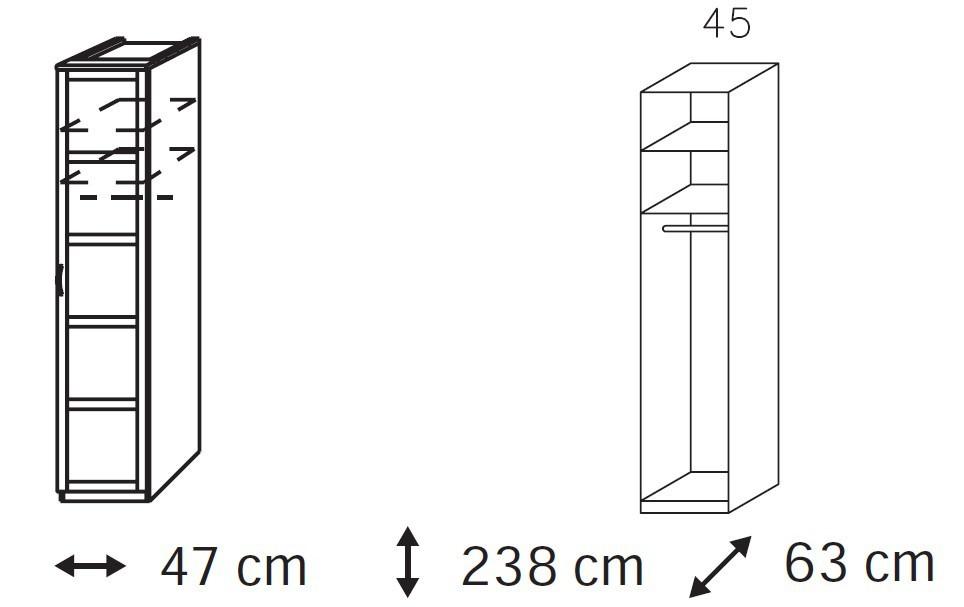 Klasická Elementa A - šatní skříň, 1x dveře