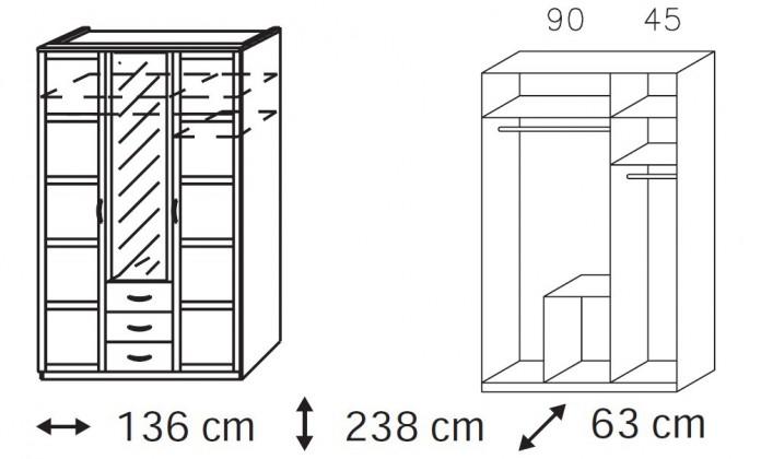 Klasická Elementa A-šatní skříň,2x dveře,1xdveře se zrcadlem,3x zásuvka