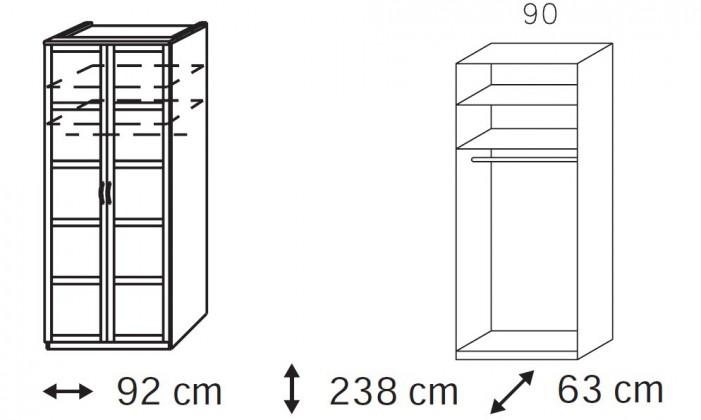 Klasická Elementa A - šatní skříň, 2x dveře