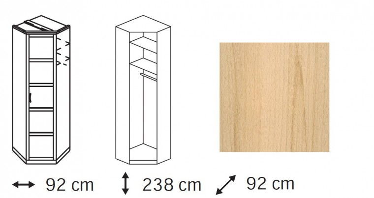 Klasická Elementa A - skříň rohová, 1x dveře se zrcadlem
