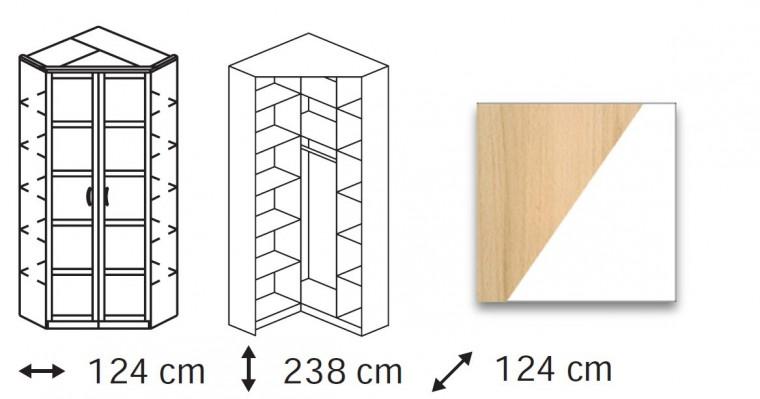 Klasická Elementa A - skříň rohová, 2x dveře