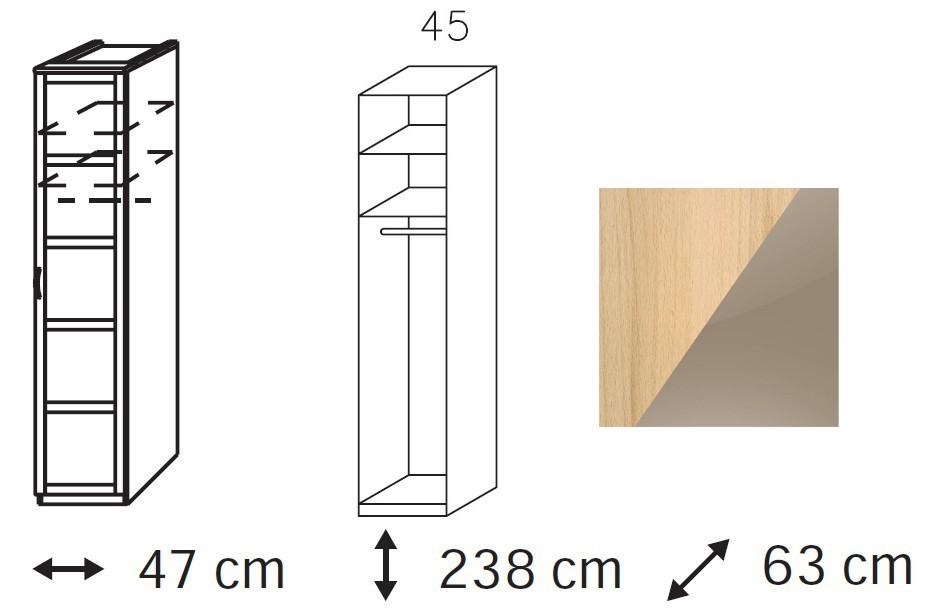 Klasická Elementa B - šatní skříň, 1x dveře