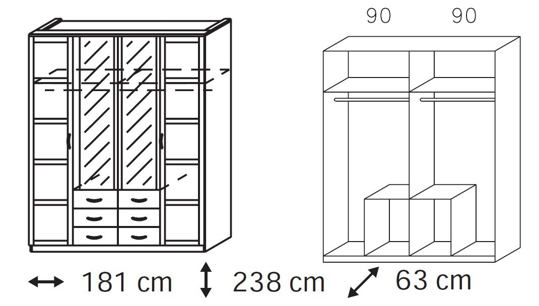 Klasická Elementa B-šatní skříň,2x dveře,2x dveře se zrcadlem,6x zásuvka