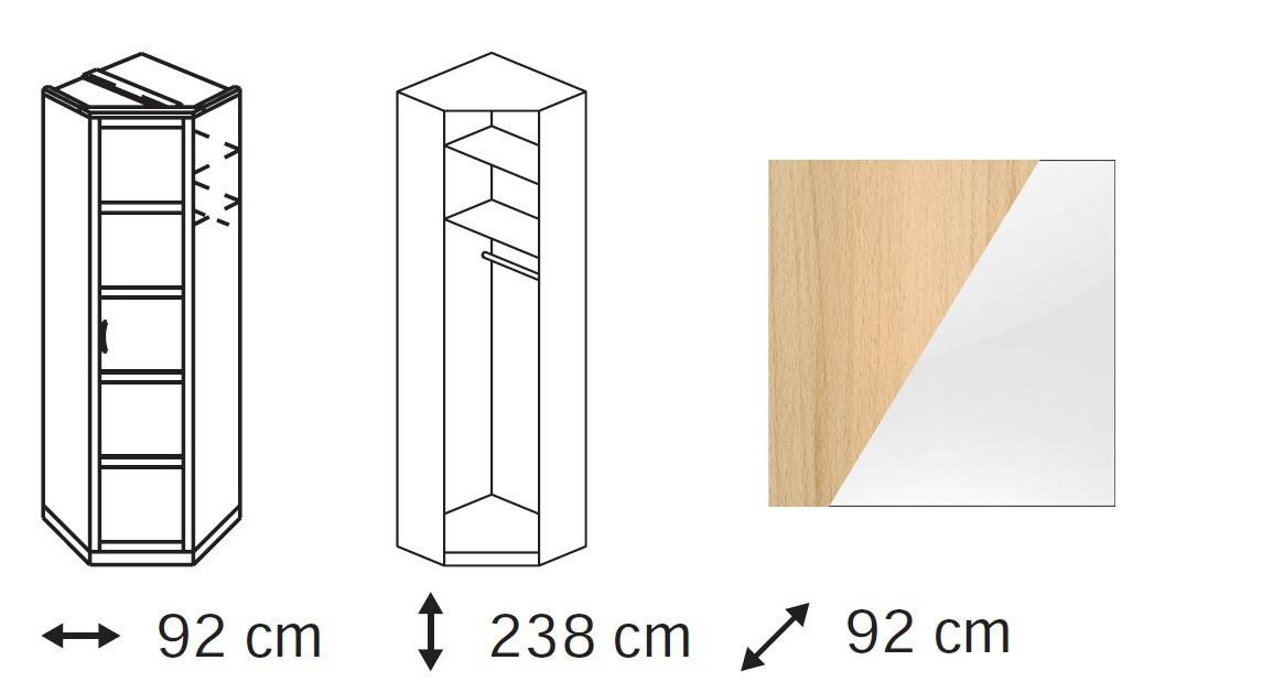 Klasická Elementa B - skříň rohová, 1x dveře