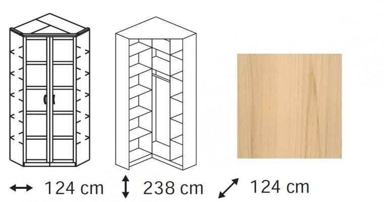 Klasická Elementa B - skříň rohová, 2x dveře